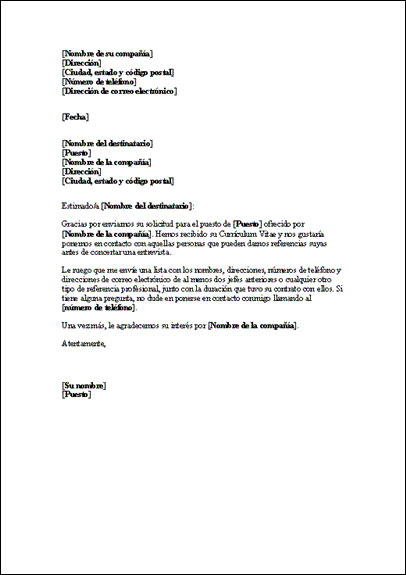 Modelo de carta de pedido de referencias : Curriculum Vitae Plantilla